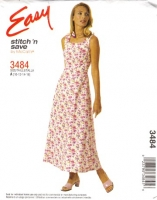 McCalls 3484 Square Neck Sundress, Sleeveless Dress Sewing Pattern 10-16 B32-38 Uncut
