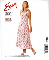McCalls 3484 Square Neck Sundress, Sleeveless Dress Sewing Pattern 18-24 B40-46 Uncut