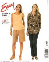 McCalls 3487 Tank Top, Button Front Shirt, Pull-on Pants & Shorts Sewing Pattern 18-24 B40-46 Uncut