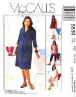 McCalls 3530 Maternity Dress, Shirts, Top, Capri Pants Sewing Pattern 18-22 B40-44 Uncut