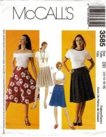 McCalls 3585 Pleated, Yoked or Flared' Skirt Sewing Pattern 12-18 Waist 34-40 Uncut