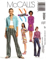 McCalls 3594 Shirtdress, Shirt, Low Rise Pants, Dress Sewing Pattern Juniors 11/13-17/18 B33-38 Uncut