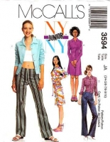 McCalls 3594 Shirtdress, Shirt, Low Rise Pants, Dress Sewing Pattern Juniors 3/4-9/10 B28-32 Uncut