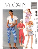 McCalls 3608 Tie Front Shirt, Top, Shorts & Capri Pants Sewing Pattern 12-18 B34-40 Uncut