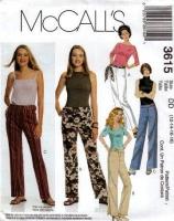 McCalls 3615 Low-Rise Pants Sewing Pattern 12-18 Waist 34-40 Uncut