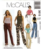 McCalls 3615 Low-Rise Pants Sewing Pattern 4-10 Waist 29-32 Uncut