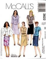 McCalls 3622 Button Front Shirt Shirt & Straight Skirt Sewing Pattern 14-20 B36-42 Uncut