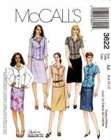 McCalls 3622 Button Front Shirt Shirt & Straight Skirt Sewing Pattern 6-12 B30-34 Uncut