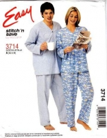 McCalls 3714 Sleepwear Pajamas Sewing Pattern XS S M B30-38 Uncut