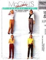 McCalls 3740 Flat Front, Pleated, Trousers, Slacks, Pants Sewing Pattern Plus Size 20-24 Waist 34-39 Uncut