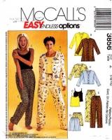 McCalls 3856 Misses' Camisole, Shorts, Pants Sewing Pattern L-XL 16-22 B38-44 Uncut