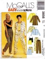 McCalls 3856 Misses' Camisole, Shorts, Pants Sewing Pattern XS-M B29-36 Uncut