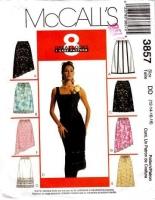 McCalls 3857 A-Line Skirt, Diagonal Hem, Pleats, Sewing Pattern 12-14 Waist 26-28 Used