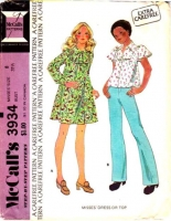 McCalls 3934 70s Flutter Sleeve Dress or Top Sewing Pattern 8 B31 Used