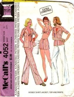 McCalls 4052 1970s Shirt Jacket, Halter Top, Shorts & Flared Pants Sewing Pattern 10 B32 Used