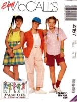 McCalls 4157 Girls' Shirt, Top, Pants, Shorts & Culottes Sewing Pattern Small 7 Uncut