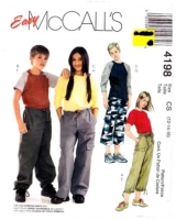 McCalls 4198 Childs' Ringer Style Tops & Pants Sewing Pattern 12-16 Uncut
