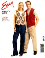 McCalls 4202 Unisex LIned Vest & Drawstring Cargo Pants Sewing Pattern S-M B31-36 Uncut