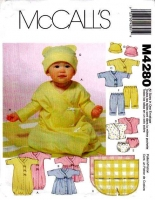 McCalls 4280 Infant Layette, Gown, Dress Sewing Pattern S-XL Uncut