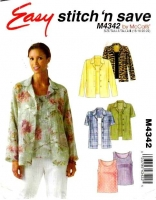 McCalls 4342 Long Sleeve Shirt & Tank Top Sewing Pattern Plus Size 16-22 B38-44 Uncut