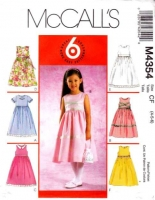 McCalls 4354 Toddler & Girls' Sleeveless Dress Sewing Pattern 4-6 Uncut