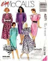 McCalls 4371 80s Puff Sleeve Dress Sewing Pattern 12-16 B34-38 Uncut