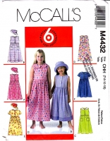 McCalls 4432 Girls Loose-fitting Dress & Hat Sewing Pattern 7-12 Uncut