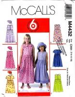 McCalls 4432 Girls Loose-fitting Dress & Hat Sewing Pattern 7-12 Uncut