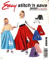McCalls 4569 Girls 50s Poodle Skirt Costume Sewing Pattern Small 8-10 Used