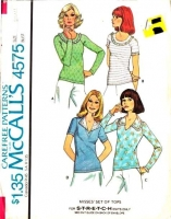 McCalls 4575 70s Stretch Knit Wing Collar, V-Neck Tops Sewing Pattern Small  B32-34 Uncut