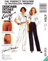 McCalls 4764 Palmer/Pletscher Perfect Trouser Sewing Pattern 14 Waist 28 Uncut