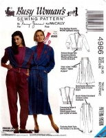 McCalls 4986 Pullover Cardigan Jacket, Vest, Pants, & Skirt Sewing Pattern 14-16 B36-38 Uncut