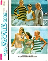 McCalls 5039 70s Long & Short Sleeve Stretch Knit Tops Sewing Pattern Medium B36-38 Used