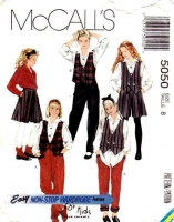 McCalls 5050 Girls' Reversible Vest, Blouse, Split Skirt, & Pants Sewing Pattern 8 B27 Used