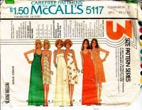 McCalls 5117 70s Spaghetti Strap Maxi or Knee Length Dress Sewing Pattern 10-14 B32-36 Used