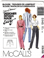McCalls 5145 Camp Shirt Blouse, Trouser Pants, Jumpsuit Pattern 14 B36 W28 Uncut