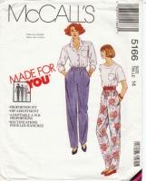 McCalls 5166 Misses' Pull-on Pants Sewing Pattern 14 Waist 28 Uncut