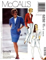 McCalls 5232 Semi-Fitted Jacket, Straight Skirt, Shorts  & Tapered Pants Sewing Pattern 10-14 B32-36 Uncut