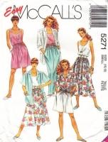 McCalls 5271 Big Shirt, Tank Top, Full Skirt, Pants & Wide Leg Shorts Sewing Pattern 10-12 B32-34 Uncut