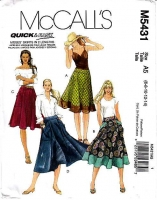 McCalls 5431 Flared Skirt with Big Pockets Sewing Pattern 6-14 Waist 23-28 Uncut
