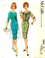 McCalls 5467 60s Scoop Neck Sheath Dress Sewing Pattern 12 B32 Used