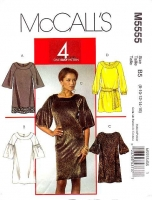 McCalls 5555 Bell Sleeve Shift Dress Sewing Pattern 8-16 B31-38 Uncut