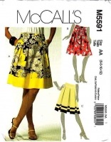 McCalls 5591 Gathered, Pleated, or Sash Tied Skirt Sewing Pattern 6-12 Waist 23-26 Uncut