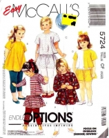 McCalls 5724 Toddlers' Top, Skirt & Leggings Sewing Pattern 4-6 Uncut