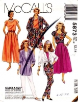 McCalls 5873 Jacket, Top, Skirt, Split-Skirt, Pants Sewing Pattern 12-14 B34-36 Uncut