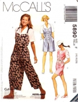 McCalls 5890 Jumpsuit, Romper, Split Skirt Jumper Sewing Pattern Plus Size 16-20 B38-42 Uncut