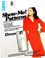 McCalls 5895 70s V-Neck, Wing Collar Dress Sewing Pattern 10-14 B32-36 Uncut