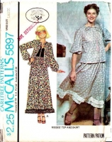 McCalls 5897 70s Laura Ashley Prairie Skirt & Top Sewing Pattern Large B40-42 Uncut