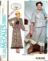 McCalls 5897 70s Laura Ashley Prairie Skirt & Top Sewing Pattern Large B40-42 Uncut