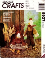 McCalls 5927 Chicken & Rooster Dolls & Clothes Sewing Pattern Uncut